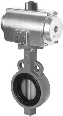 Stainless steel pneumatic valve actuator with butterfly valve